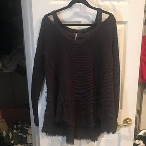 Free People Sweater Knit Grey Size Large